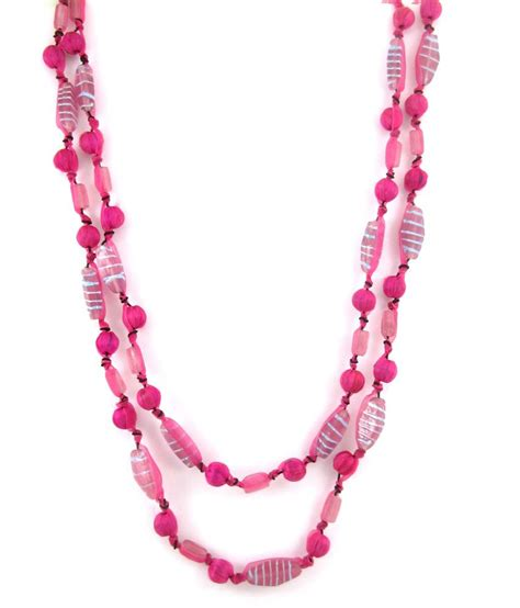 pink beaded necklace the jewelbox bright pink beaded 2 layered mala