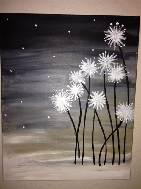 how to cover acrylic paint on canvas dandelion canvas canvases paintings and easy