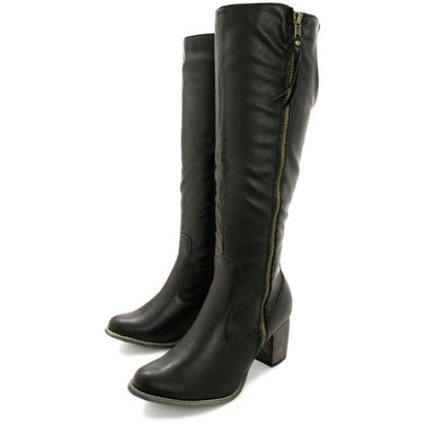 leather knee high boots for buy mila heeled zip stretch knee high biker boots black leather style