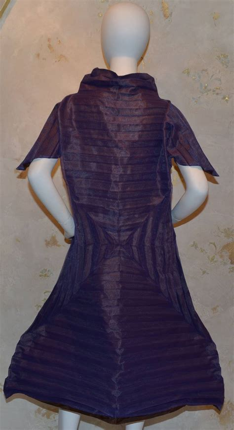 origami clothing line issey miyake purple pleated origami a line dress for sale