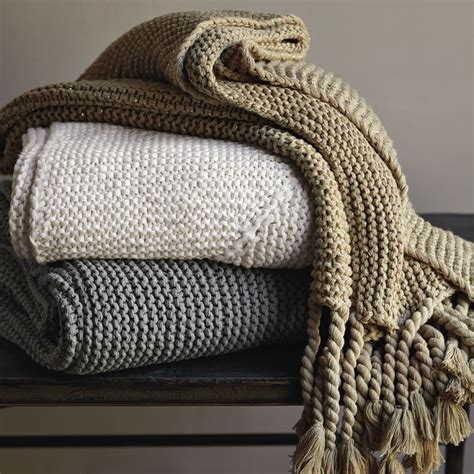 knit throws west elm chunky tassel knit decorative throw blanket light