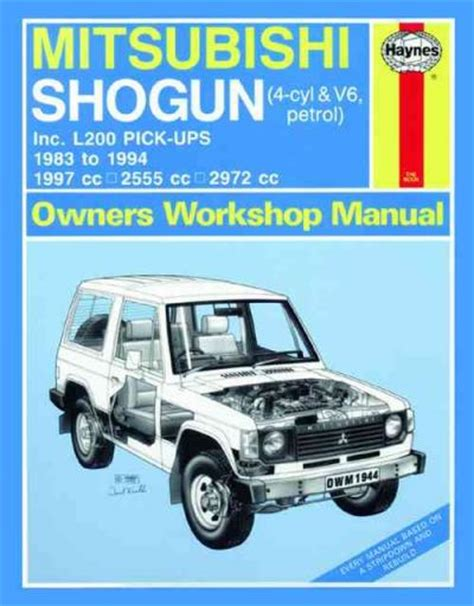 auto repair manual online 1998 mitsubishi pajero user handbook mitsubishi pajero triton l200 pick ups 1983 1994 sagin workshop car manuals repair books