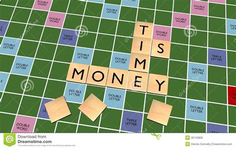 scrabble time time is money crossword on scrabble board royalty free