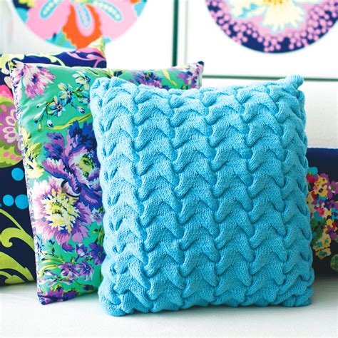 cushion knitting pattern update a sofa with a funky cable cushion knitting pattern