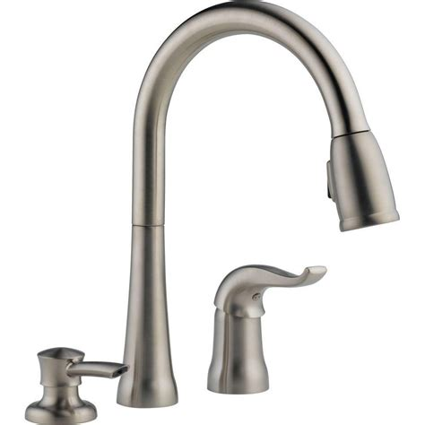 kitchen faucet one delta kate single handle pull kitchen faucet with soap dispenser the home depot canada