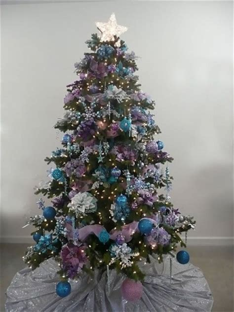 purple blue decorations white tree with purple and blue decorations