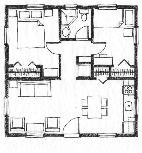 2 bedroom house floor plans small scale homes 576 square foot two bedroom house plans