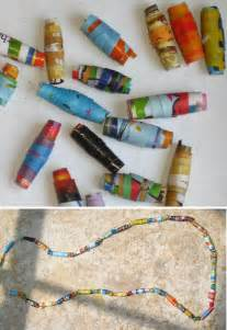 recycling paper crafts recycling crafts rolled paper and necklaces