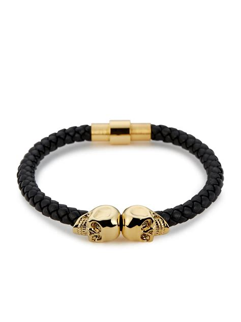 black bracelet black nappa leather 18kt gold skull bracelet