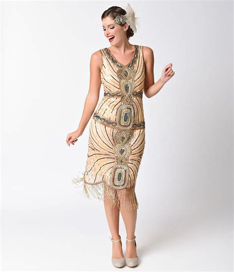 dresses 1920s style turquoise beaded deco fringe flapper dress twenties inspired