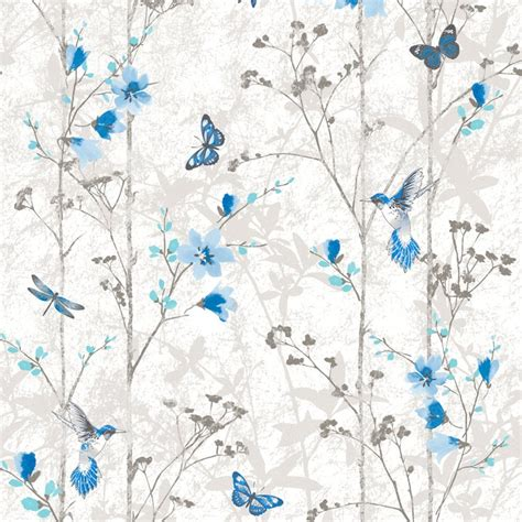 shabby chic wall paper blue flowers and butterflies shabby chic wallpaper the