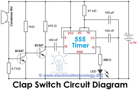 electrical timer clap switch circuit electronic project using 555 timer