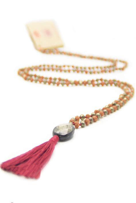 how many in a mala necklace abundance mala necklace of rudraksha mala pyrite