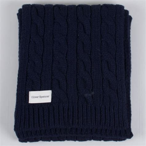 navy knit scarf oliver spencer cable knit scarf navy
