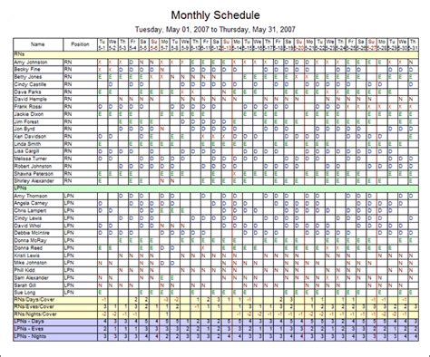 7 blank monthly employee schedule template lease template
