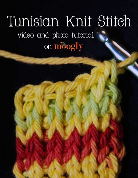 tunisian crochet knit stitch and photo tutorial tunisian knit stitch moogly