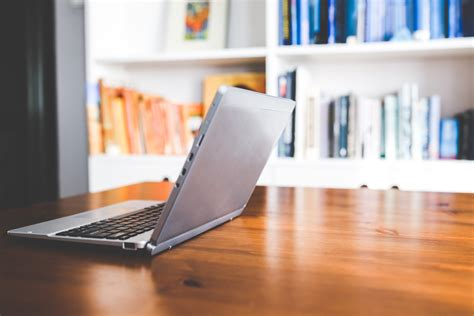 on office desk laptop computer on a wooden desk 183 free stock photo