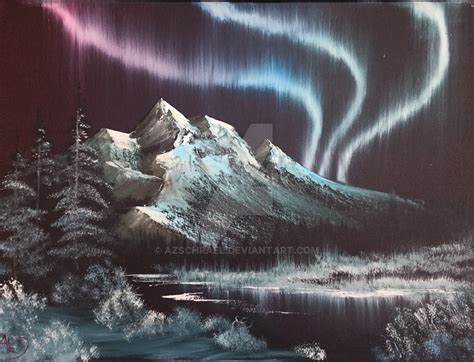 bob ross painting northern lights northern lights adapted from bob ross by azschrael on