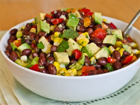 Black bean, roasted corn, avocado, and red pepper salad