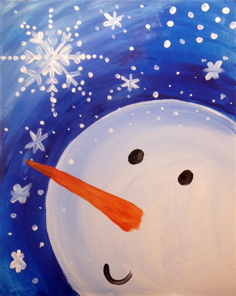 paint nite snowman snowman and snowflake creatively uncorked