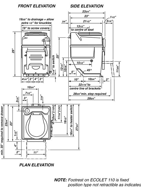 Eco Toilet Dimensions by Sun Mar Excel Ne Toilet Specs