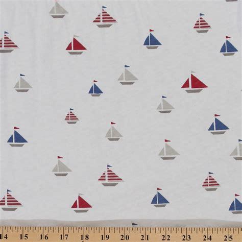 nautical knit fabric cotton jersey knit nautical sail boats fabric by the yard