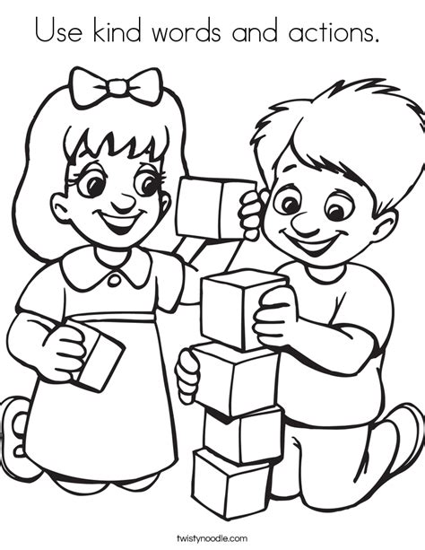 Use kind words and actions Coloring Page   Twisty Noodle