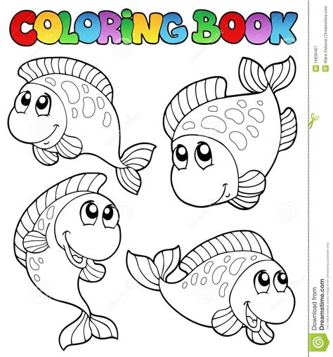 coloring book picture coloring book with four fishes royalty free stock