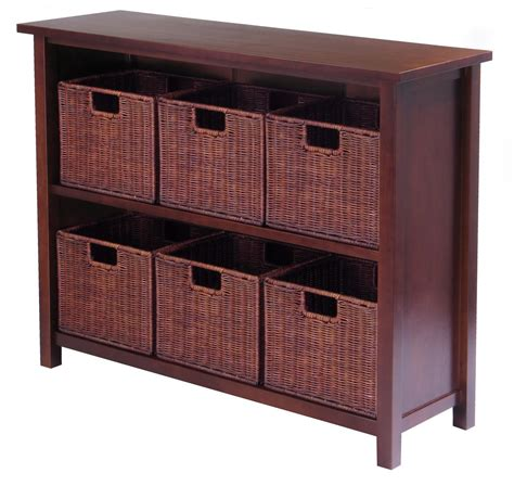 storage bookshelves with baskets winsome milan 7pc storage shelf with baskets by oj