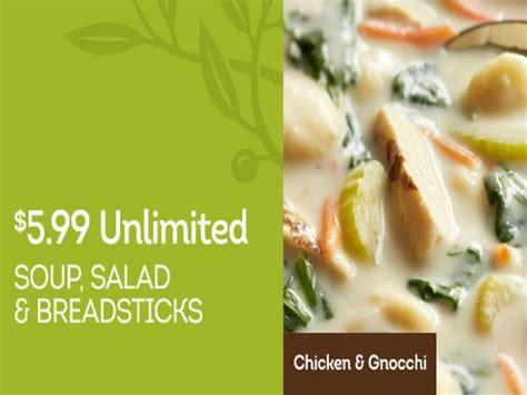 olive garden unlimited soup salad and breadsticks 5 99