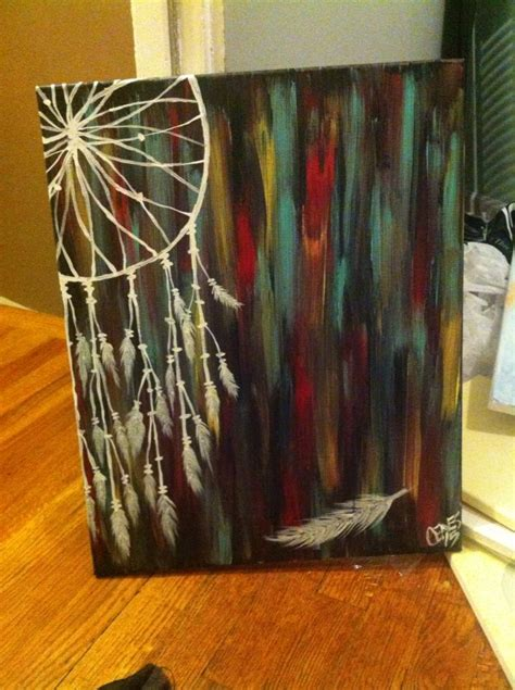 acrylic paint on black canvas painted acrylic catcher with turquoise