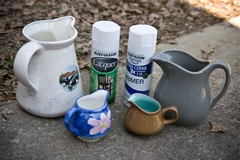 spray painting ceramic diy transform these pitchers into pretty white vintage