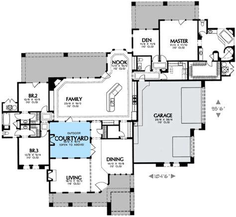 interior courtyard house plans interior courtyard 16360md 1st floor master suite