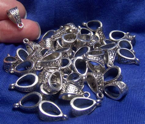 silver supplies for jewelry jewelry supplies bulk lot of 50 pendant bails