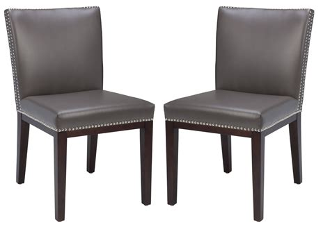 grey leather dining chairs vintage leather grey dining chair set of 2 from sunpan