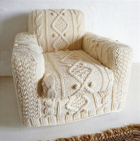 knit cover knitted aran armchair slip cover by biscuitscout
