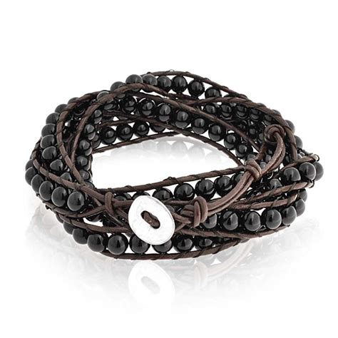 leather and bead bracelet bling jewelry stackable black onyx gemstone brown