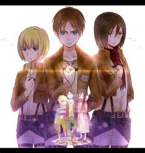 attack on titan eren and mikasa attack on titan eren mikasa armin