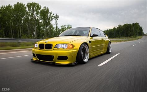 Bmw Modified by Widebody Yellow Bmw E46 M3 Bagged And Modified