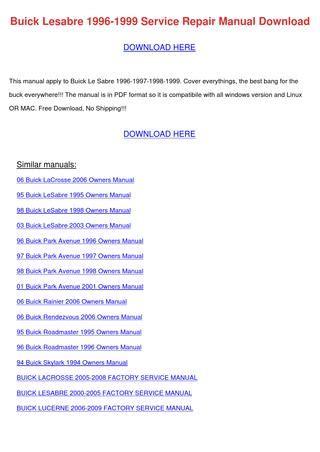 service manuals schematics 2000 buick lesabre auto manual buick lesabre 1996 1999 service repair manual by emmadarby issuu