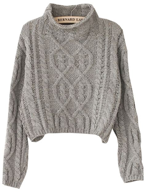 knit sweater grey high neck crop cable knit sweater shein sheinside