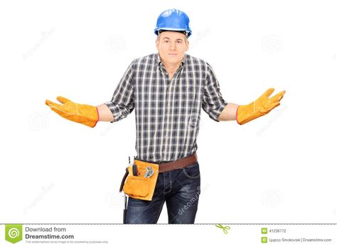 3d Room Builder confused male engineer gesturing with hands stock photo