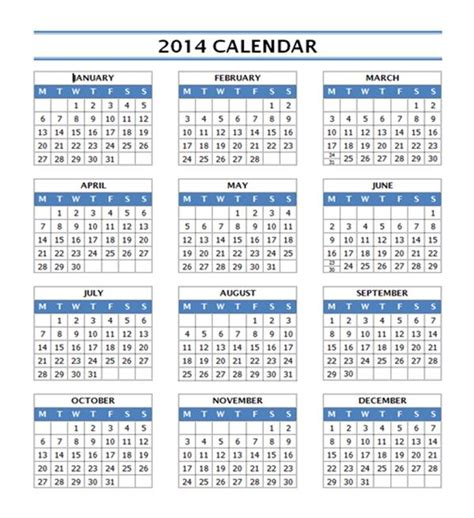 2014 calendar template free microsoft word templates