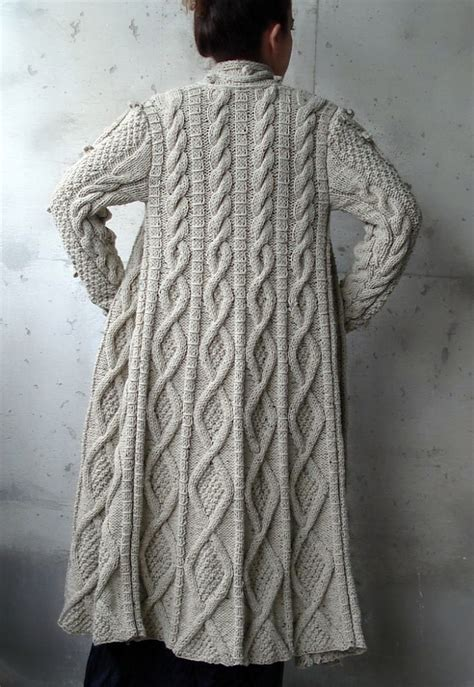 knit coat beige cable knitted coat cardigan