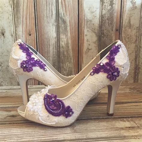 purple beaded shoes colored bridal shoes purple ivory white all lace beaded peep