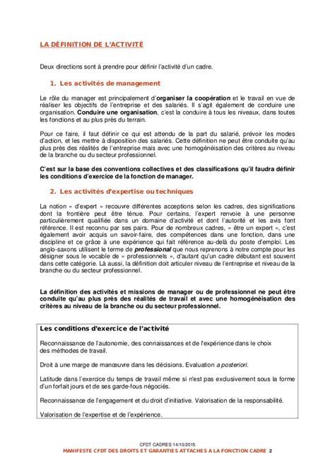 le manifeste cfdt des droits et garanties attach 233 es 224 la fonction cad