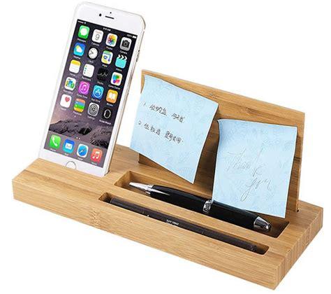wood desk organizer bamboo wood office desk organizer mobile phone stand