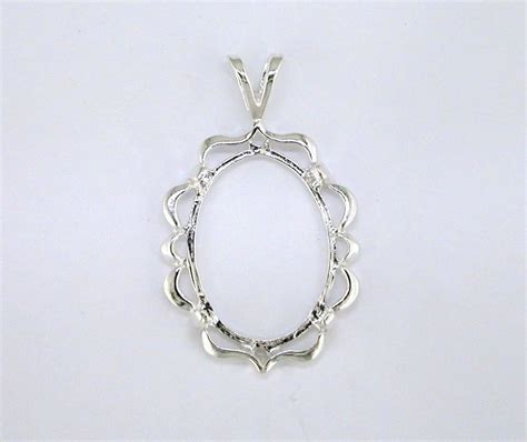 jewelry settings oval cabochon cameo pendant setting sterling silver ebay