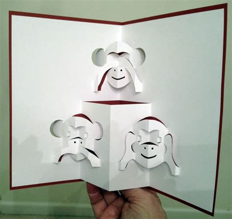 how to make a origami pop up card three monkeys pop up card template from pattern sheets of