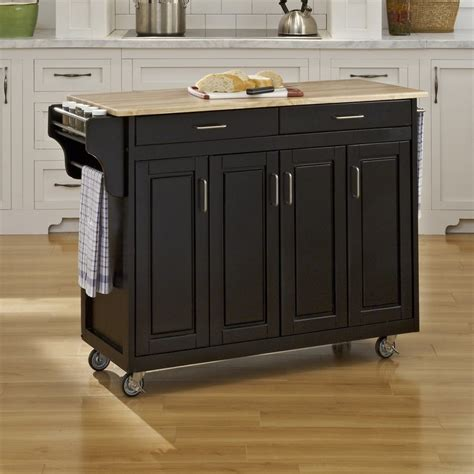 Homestyles Kitchen Island shop home styles black scandinavian kitchen carts at lowes com